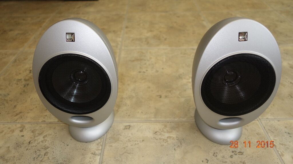 kef egg. pair of kef egg speakers in silver, model hts2001, with mounts kef