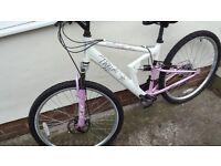 "ladies mountain bike full suspension 16"" shimano gears and gripshift"