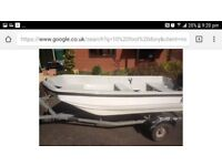 DORY 1O FOOT, 2HP YAMAHA MALTA ON SNIPE TRAILER - IDEAL PIKE OR TROUT BOAT