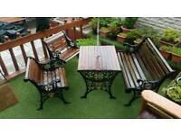 Vintage cast iron and hardwood garden furniture