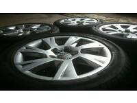 "GENUINE AUDI 17"" ALLOY WHEELS & TYRES 5X112 A4 A5 A6 SLINE VW GOLF MERCEDES"
