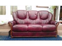Burgundy Leather 3 seat sofa