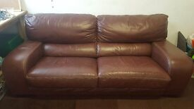 DANSK LEATHER SOFA AND ARMCHAIR FOR SALE