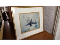 Ducks In Flight Paintings in Gold Frame with White Border