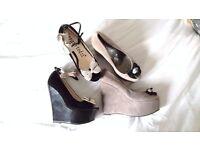 NEW Bundle Platform wedge Heel Shoes Strappy Sandals Pewter grey Black Peep Toe Size 4