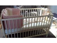 Ikea cot/cotbed with mattress and bottom fitted sheet and disney bumper
