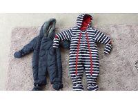 2 x baby boy winter all-in-ones 3-6 months
