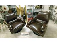 Stunning Ex display pair of soft leather chairs with chrome swivel base SALE