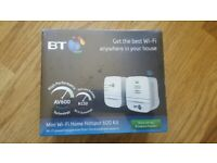 BT Mini Wi-Fi Home Hotspot 600 Kit AV600 Powerline N150 Wi-Fi 2 Network boost sockets in the box