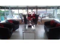 Glass Dining Table and 6 Black Leather Chairs (matching coffee table also for sale)