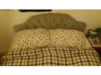 Good Cond. Double Mattress, Divan Bed, Velvet headboard, really comfy