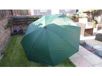 large green til-table fishing brolly