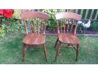 2X FARMHOUSE CHAIRS AND 5 X PADDED CHAIRS
