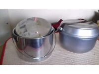TRAVELLINGTHREE PIECE SET BILLY CANS SET- EXCELLENT CONDITION