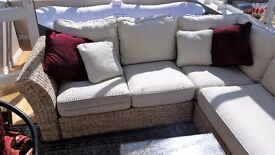 Quality Indoor/Conservatory L-Shaped Rattan suite with glass topped coffee table and lamp table