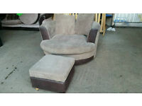Cuddle Swivel Armchair with Footstool