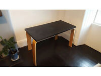 IKEA desk (beech legs, black top)