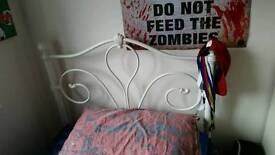 Cream single metal bed frame
