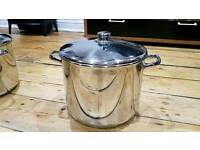 Large 27cm Stainless Steel Stock Casserole Soup Stew Cooking Pot with lid