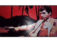 Large Scarface canvas signed by Hood