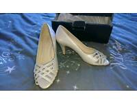 Brand new with box cream and silver peep toe shoes size 5