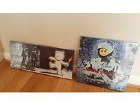 Two brand new 'Banksy' canvas prints