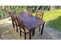 Solid Wood Dining Table & Chairs - Very Good Condition