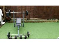 york fitness bench with 150kg iron weights