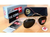 FREE DELIVERY TODAY! RAYBAN GOLD AVIATOR SUNGLASSES MENS WOMENS JOBLOT WHOLESALE BARGAIN