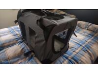 Brand new folding dog or cat travel carrier canvas crate for car . 1 or 2 available with fleece mat