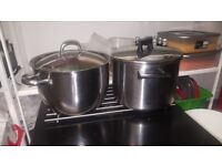 5 cooking pots. stainless steel