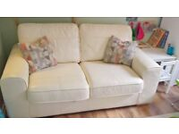 cream real leather sofa bed DFS