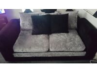 Black and silver crushed velvet sofas 3 and 2