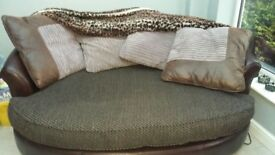 Two seater sofa and cuddle chair for sale