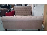 Ex display Julian Bowen Ravello chenille Mink Fabric Deep Button Scroll King Size Bed Can Deliver