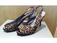 New Next Peep Toe Leopard Print with matching Clutch