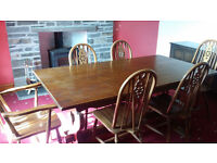 Old Charm Oak Dining Room Table 6 Chairs 2 Carvers, Profits to fund a Charity for Disabled people