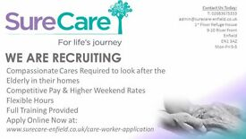Care Assistants Required in Enfield - £9 PER HOUR WEEKEND PAY