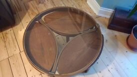 Vintage Nathan Coffee Table with 3 small table nest