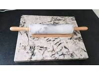Marble rolling pin and board