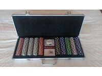 Near new, 500 piece poker set. 2 packs of cards, 5 dice, dealer chip