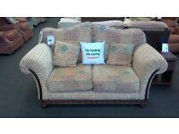 2 seat gold and biege fabric sofa - British heart foundation