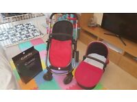 Icandy strawberry chrome pushchair with carrycot maxicosi car seat, adaptors and isofix