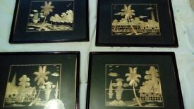 4 old Oriental bamboo pictures.