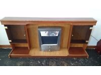 Mahogany fire surround with two lit display cabinets