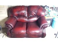 Lovely 2 seater oxblood red leather sofa, great condition