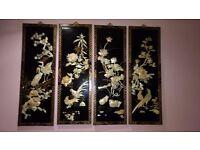 Chinese Oriental Landscape Ellaborate Four Seasons Wooden Panel Set of 4 decor