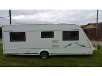 2005 compass omega 534 fixed bed touring caravan with motor mover, awning etc