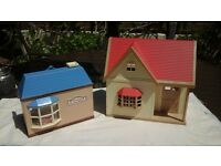 Sylvanian Houses, Rose Cottage and Toy Shop plus extras