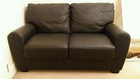 X 2 black leather two seater sofas